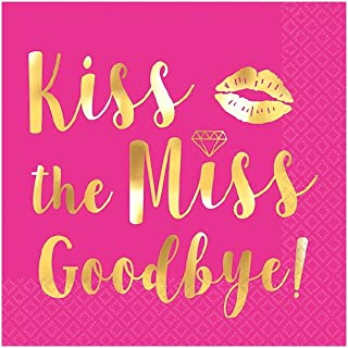 Amscan 500058 Bridal Shower Party Decorations Kiss The Miss Goodbye Beverage Napkins, Hot-Stamped, 16 per Pack, Pink with gold font