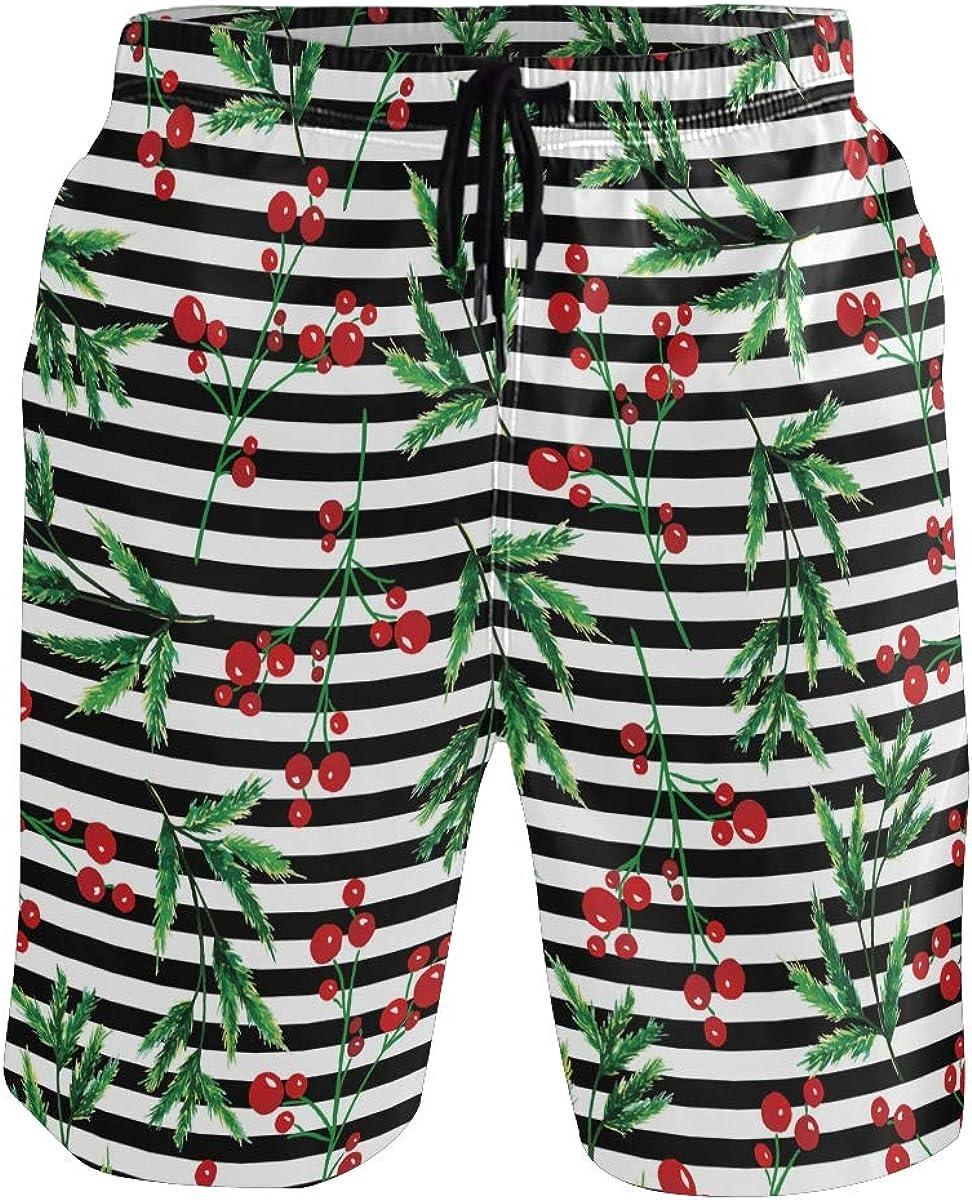 Mens Swim Trunks Christmas Red Holly Decor Black White Striped Beach Board Shorts