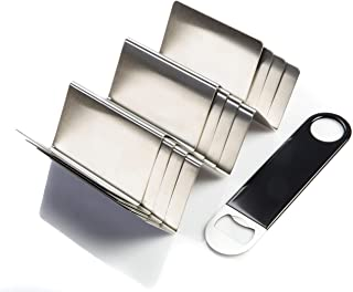 Firgus Taco Holder Stand 4 Pack Set Stylish Stainless Steel Serving Tray Rack Holds 3 Tacos Hot Dogs or Burritos Comes with Bartender Bottle Opener