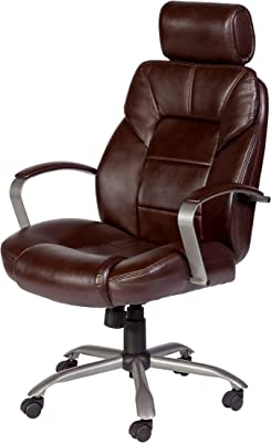 OneSpace Commodore II Big & Tall Leather Executive Office Chair, Brown