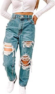 Ripped Jeans for Women, High Waisted Jeans for Casual, Basic, Party, Outdoor, Daily Wear