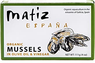 Matiz Espana Organic Mussels in Extra Virgin Olive Oil and Apple Cider Vinegar (2 tins of 4 oz.) From the Coast of Galicia, Spain