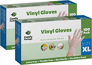 Comfy Package Clear Powder Free Vinyl Disposable Plastic Gloves [200 Pack] - Extra Large