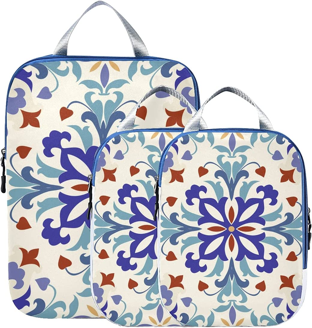 Packing Cubes Compressible Flowers And Tiles Be super welcome Moroccan Travel Lug Ranking TOP1