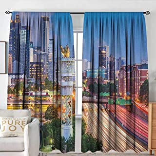 United States Thermal/Room Darkening Window Curtains Atlanta Georgia Urban Busy Town with Skyscrapers City Landscape Blackout Draperies for Bedroom W 84