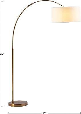 "Rivet Brass Arc Floor Lamp, 76""H, With Bulb, Brass with Linen Shade"