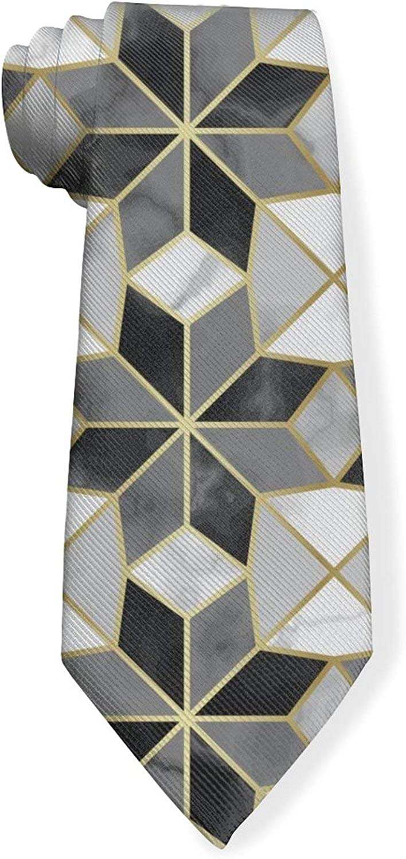 Luxury Marble Tile Golden GridMens Classic Color Slim Tie, Men's Neckties, Fashion Boys Cravats