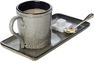 Coffee Mugs شخصية بسيطة القدح الرجعية الإفطار كوب القهوة رائعة بعد الظهر كوب الشاي النمط الياباني مع مقبض وحلوى لوحة 300 م...
