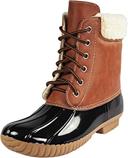 DYLAN-3 Women's Two Tone Lace Up Ankle Rain Duck Boots