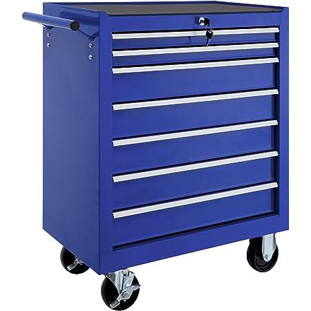 tectake 800560 Carro de Herramientas con Ruedas, Organizadores, 7 Cajones con Cerradura, Mueble de Taller Bricolaje, Móvil, Nuevo (Azul)