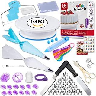Kitchen Strike Cake Decorating Kit - The Complete 144 Pieces Set With Extra Bonus Accessories Of Fondant Tools, Spoons, Piping Bag Ties and Book - Smooth Spinner Turntable With Non-slip Silicone Base