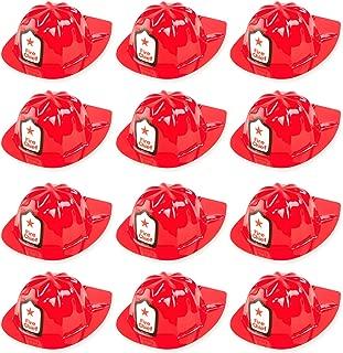 Super Z Outlet 12 Pack Red Firefighter Children's Fireman Soft Plastic Helmet Dress Up Party Hats