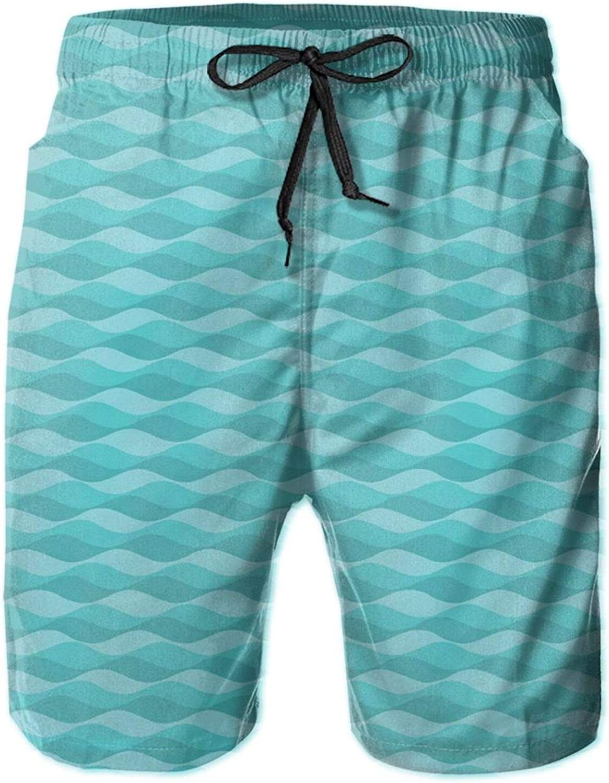Simple Artsy Curls Abstract Underwater Geometric Shapes Illustration Drawstring Waist Beach Shorts for Men Swim Trucks Board Shorts with Mesh Lining,L