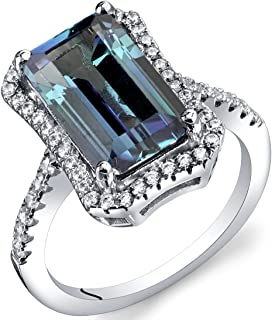4.25 Carat Simulated Alexandrite Octagon Ring Sterling Silver Sizes 5 to 9