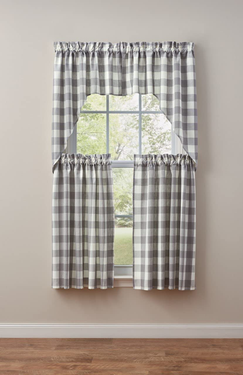 Park Designs Award Wicklow Gray White Check Pair x Swag 72W Spring new work Valance