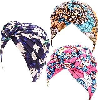 HUA JU 1Pack/2Packs/3Packs Women Turban African Pattern Cotton Knotted Peas Pre-Tied Hat Makeup Cap Hair Loss Cap