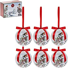SET OF 6 CHRISTMAS WINTER ROBIN VILLAGE HOUSE TREE SNOW HOLLY BAUBLES DECORATIONS RED RIBBON