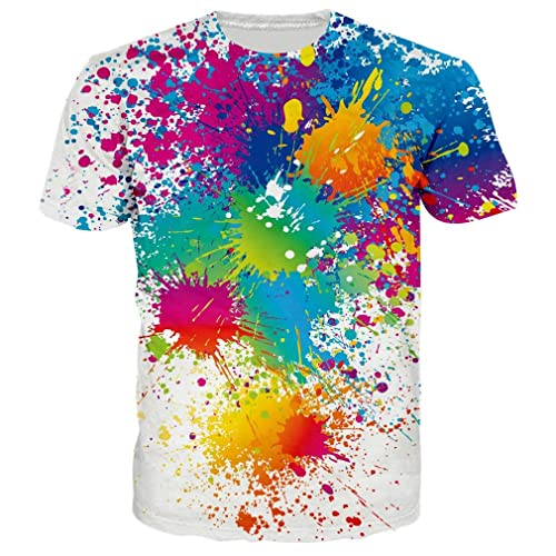 97a28e353 RAISEVERN Unisex Casual 3D Pattern Printed Short Sleeve T-Shirts Top Tees