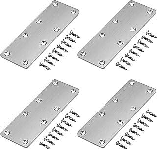 GBGS フラットプレート ブラケット金具 4個セット 201ステンレス製 8穴 固定修理プレート 14×5cm 厚さ2 mm ジョイント金具 24個ネジ付き 家具の固定板 補強ブラケット 接合金具