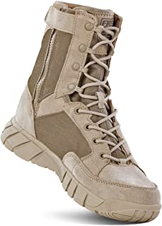 FREE SOLDIER Men's Tactical Side Zip Boots 8 Inches Military Tactical Duty Work Boot Lightweight Combat Desert Boots for Hiking,Climbing,Traveling