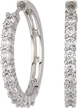 Betsey Johnson - Blue by Betsey Johnson Crystal Stone Hoop Earrings