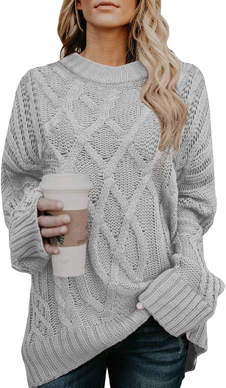 ROSKIKI Women Sexy Off The Shoulder Cable Knit Oversized Pullover Sweaters