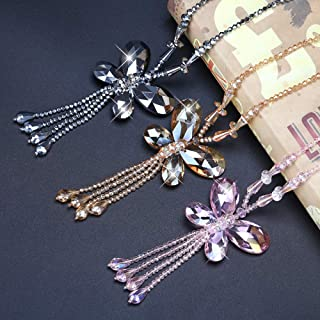 BYWWANG Crystal Butterfly Pendant Long Tassel Necklace Women's Chain Sweater Chain
