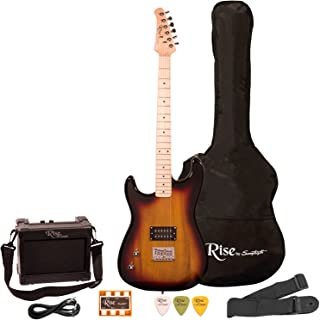 Rise by Sawtooth ST-RISE-ST-LH-3/4-SB-KIT-1 Electric Guitar Pack, Left Handed, Sunburst