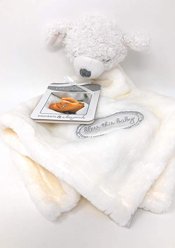 Blankets And Beyond Christening Gift 9m White Lamb Bless This Baby