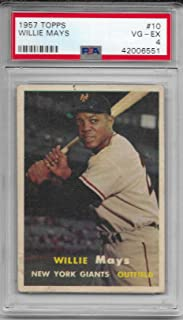 1957 Topps Baseball Willie Mays Card # 10 PSA 4 VG-EX Condition # 42006551