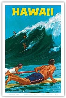 Hawaii - Big Wave Surfing - Vintage Hawaiian Travel Poster by Chas Allen c.1950s - Hawaiian Master Art Print - 12 x 18in