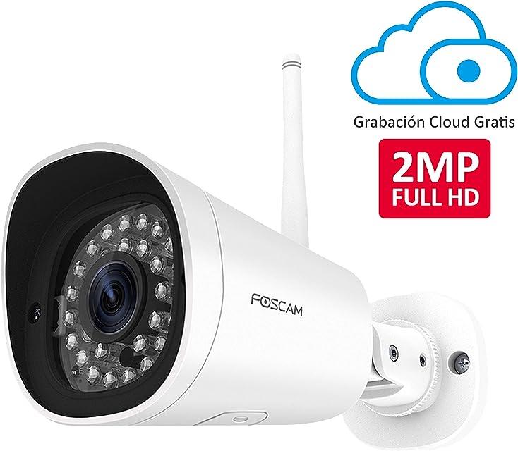 Foscam Cámara IP WiFi Seguridad Grabación en la Nube AI Detección Humana Visión Nocturna Compatible con Alexa (P2P 1080P HD ONVIF) (FI9902P (1080P WiFi))