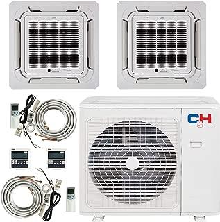 COOPER AND HUNTER Dual 2 Zone 12000 18000 Ductless Mini Split Ceiling Cassette Air Conditioner Heat Pump Multi Sophia Series