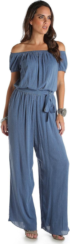 Wrangler Women's bluee Denim Wide Leg Jumpsuit  Lw6812b