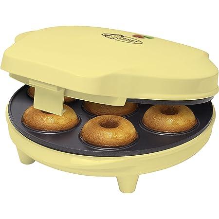 Bestron Appareil à donuts au design rétro, Sweet Dreams, Revêtement antiadhésif, 700 W, Jaune