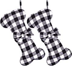 Cooraby 2 Pack Dog Christmas Stockings Buffalo Plaid Bone Shape Hanging Christmas Stocking for Christmas Decorations, 16 I...