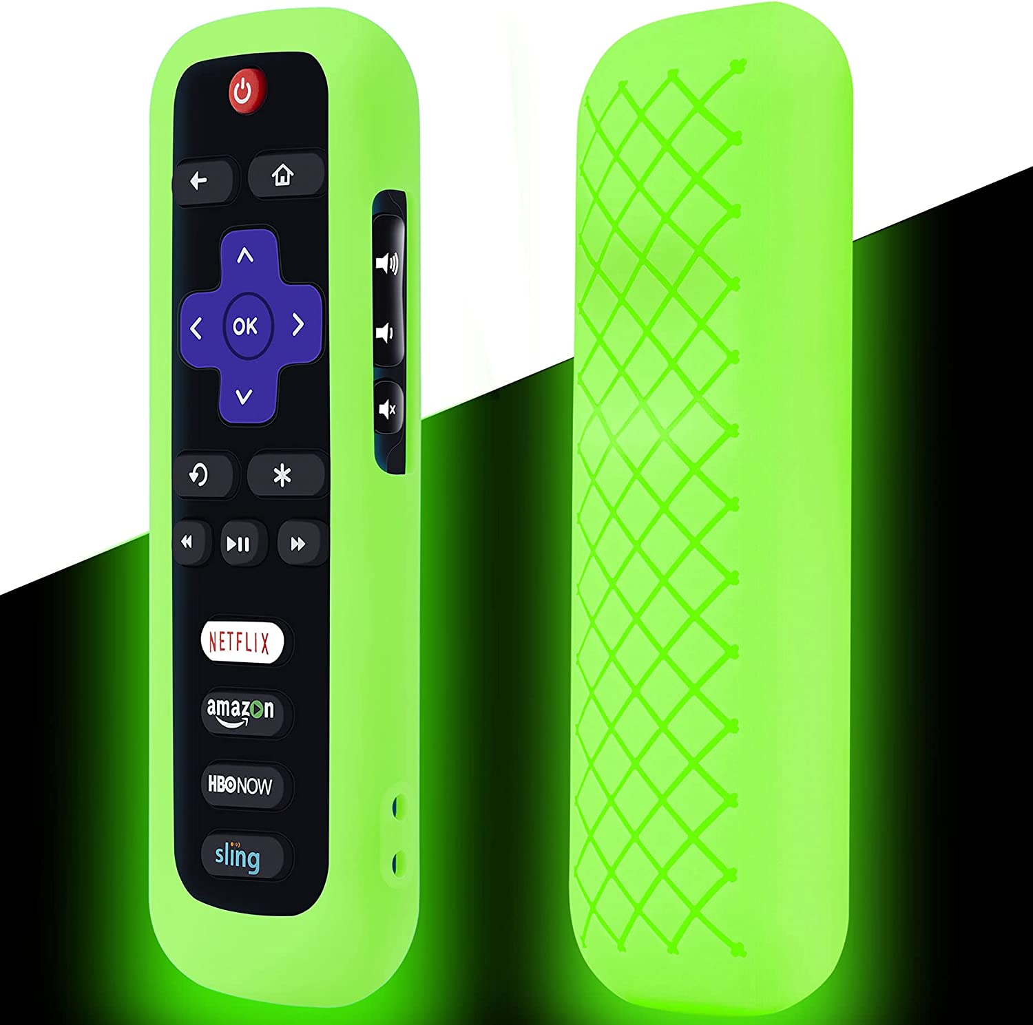 Remote Case for Roku, Battery Cover for TCL Roku Smart TV Steaming Stick Remote, Roku TV Remote Cover Silicone Protective Controller Universal Sleeve Skin Glow in The Dark Green
