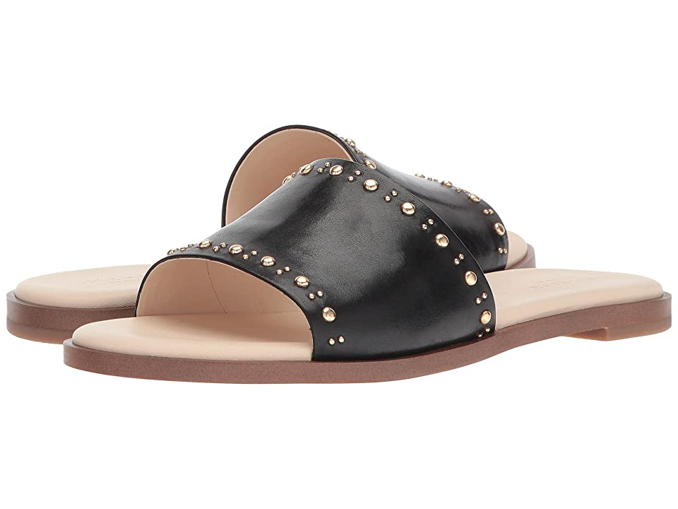 Cole Haan Anica Stud Slide Sandal (Black Leather) Women
