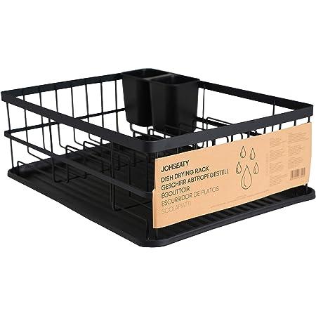 JOHSEATY Égouttoir à vaisselle en métal noir mat (42 x 31,5 x 15,5 cm) - Égouttoir à vaisselle sur évier avec porte-couverts et bac d'égouttage en plastique pour le rangement