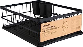 JOHSEATY Égouttoir à vaisselle en métal noir mat (42 x 31,5 x 15,5 cm) - Égouttoir à vaisselle sur évier avec porte-couver...