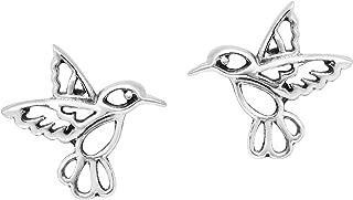 Cute Little Hummingbird in Flight .925 Sterling Silver Stud Earrings