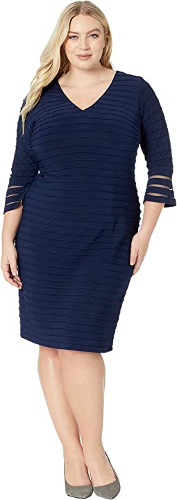 Plus Size Flared Sleeve Pintuck Dress