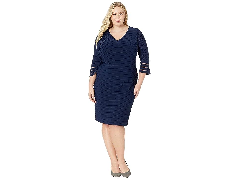 Adrianna Papell Plus Size Flared Sleeve Pintuck Dress (Midnight) Women