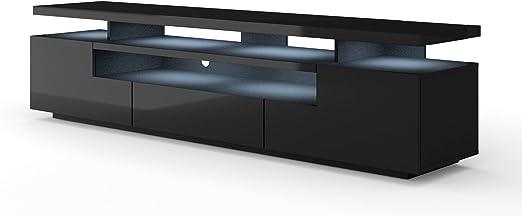 Mueble bajo para TV de EVA 195 cm, cuerpo mate y hoja brillante, mueble para televisor con LED, mueble para televisión, aparador RTV, mueble para TV, mesa de alta fidelidad, iluminación LED: