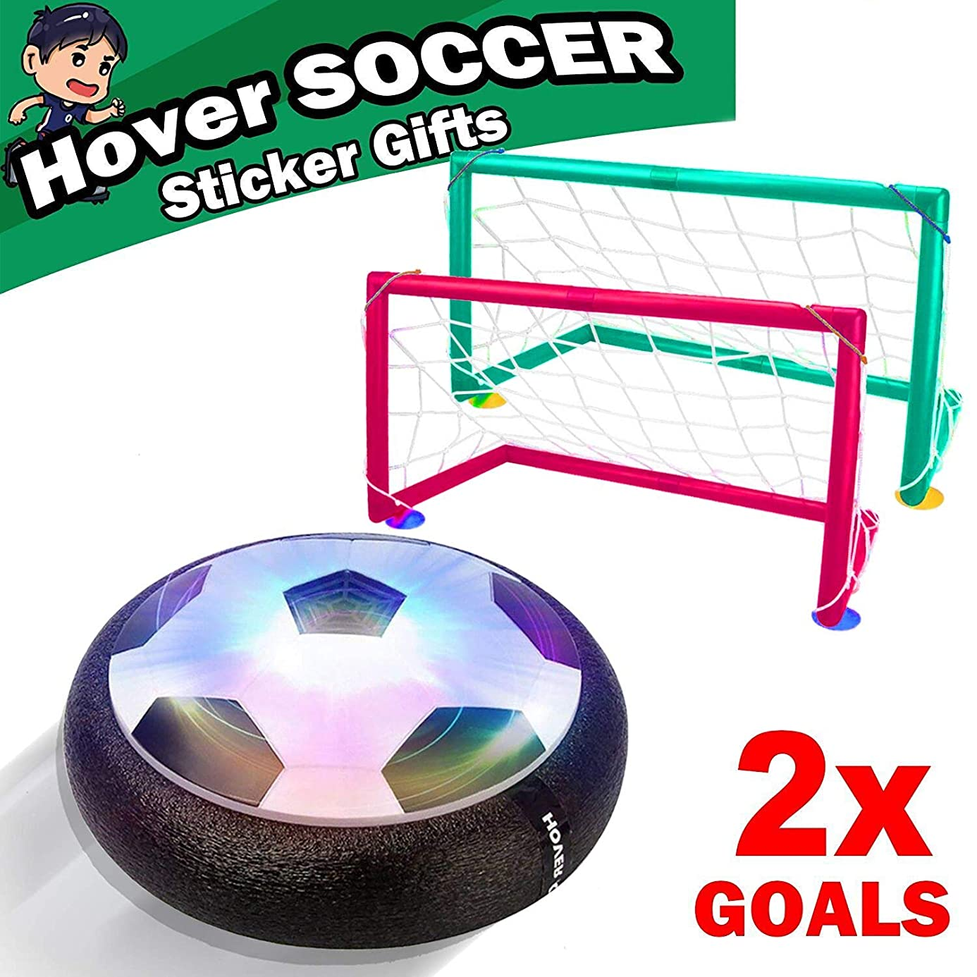 Sixone Kids Toys Hover Soccer Ball Sport Toys Set 2 Goals Indoor Outdoor LED Air Power Soccer Indoor Outdoor Training Ball Playing Football Game Toys for 3 4 5 6 7 8-12 Year Old Boys Toy Gift Birthday