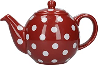 London Pottery Globe Teapot, Red/white Spot, 2 Cup, Closed Box