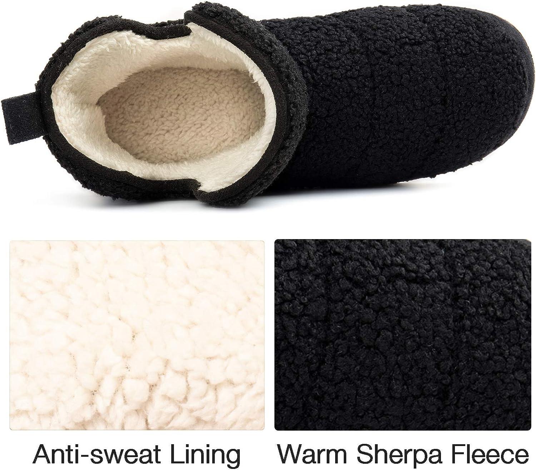 RockDove Women's Fuzzy Fleece House Bootie Ladies' Memory Foam Slipper with Rubber Sole