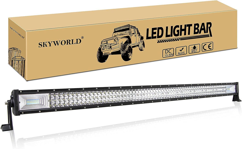 SKYWORLD 52 pulgadas 675W barra de luz de fila de LED triple, 12V-24V 6000K 7D LED barra de luz de conducción Punto de inundación Haz de trabajo la lámpara para el camión de carretera ATV UTV SUV 4WD