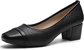 CINAK Ashley Comfort Pumps Chunky Heel Slip-on Women's Casual Square Toe Walking Classic Shoes