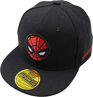 Diluma Kids Spider Man Cartoon Falt Hat Snapback Baseball Cap (Black)